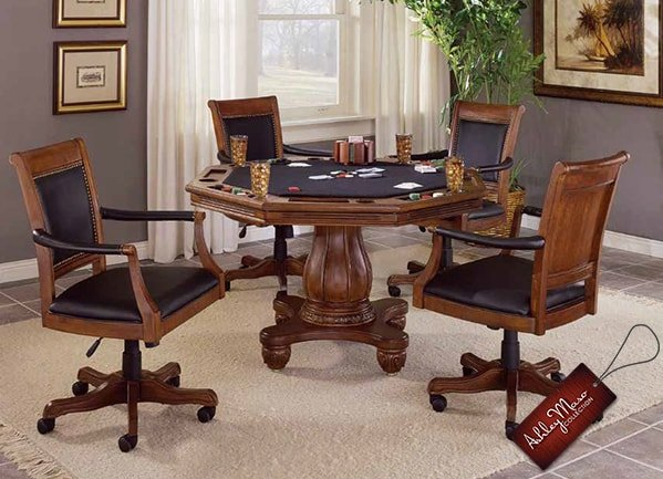 Brown and Black Poker Table