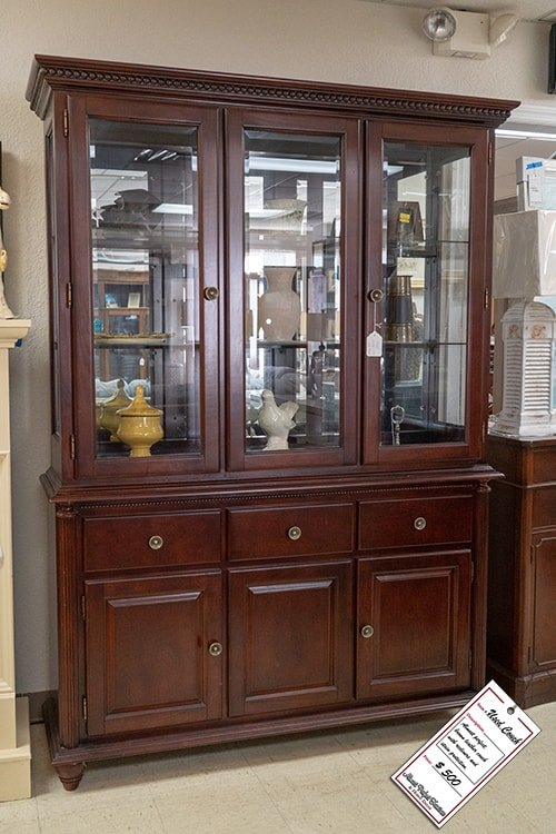 Dark Brown Wooden China Cabinet