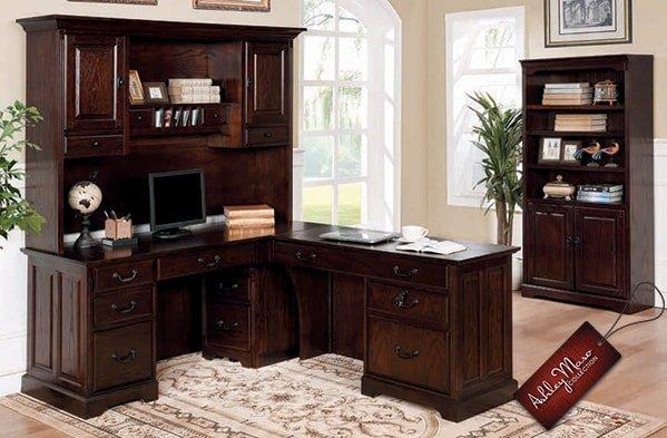 Dark Cherry Wood Home Office Furniture Set