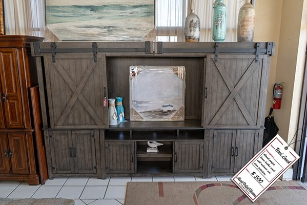 Grey Wooden Entertainment Center