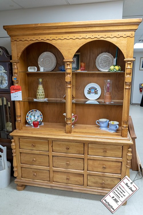 Light Brown Wooden China Cabinet