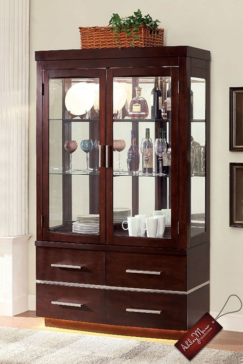 Modern Dark Brown Wooden China Cabinet