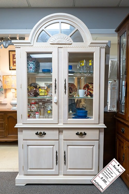 White Wood China Cabinet