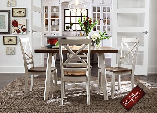 White and Brown Wooden Dining Set