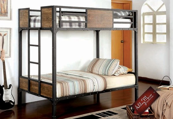 Wood and Metal Bunk Bed