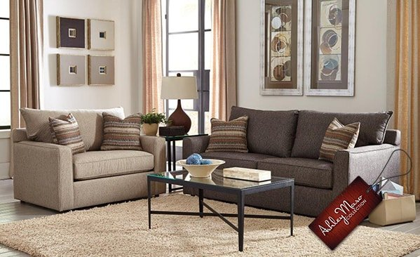 cream and brown living room set