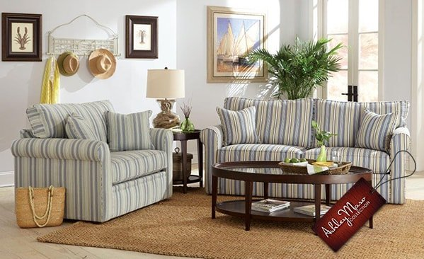 striped living room set